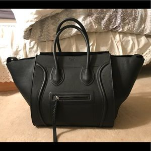 celine phantom bag black grained leather